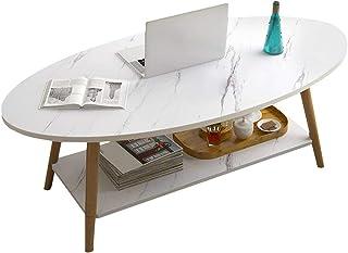 BAKAJI Basse, Table de Salon, Ovale, Design Moderne, Structure en Bois MDF avec Plateau inférieur, Plan d'appui Effet marb...