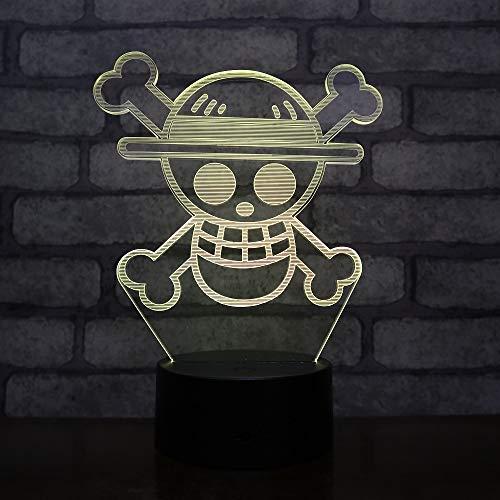 Lampara LED Bandera Piratas Sombrero de Paja One Piece Cambia Color USB Luz nocturna y decoración