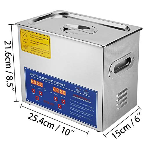 VEVOR Ultrasonic Cleaner Machine Stainless Steel Ultrasonic Cleaning Machine Digital Heater Timer Jewelry Cleaning for Commercial Personal Home Use (3L)