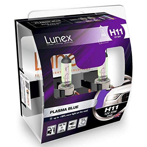 LUNEX H11 PLASMA BLUE Ampoules Halogenes Phare Bleu 12V 55W PGJ19-2 4200K duobox (2 pièces)