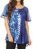 Sakkas 18718 - Iris Womens Tie-dye Short Sleeve Blouse Top with Corset and Embroidery - Royal Blue - OS