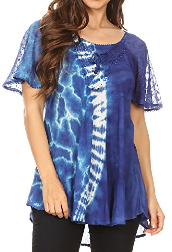 Sakkas 18718 - Iris Womens Tie-dye Short Sleeve Blouse Top with Corset and Embroidery - Royal Blue - OSP