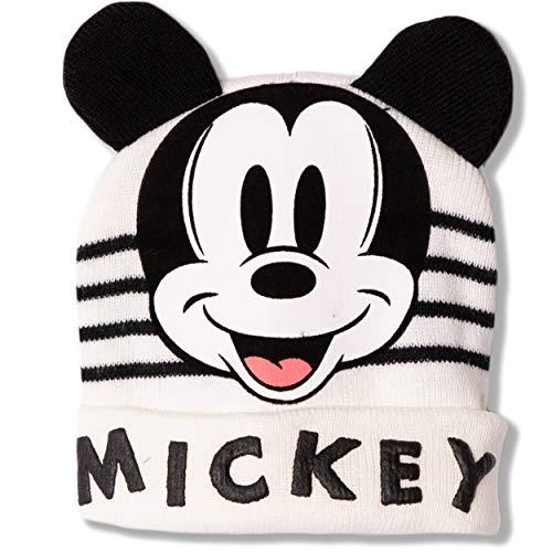Disney Bonnet d'hiver en tricot pour bébé garçon fille Motif Mickey Mouse Rouge/blanc cassé 0-2 ans - Ecru - 48 cm (environ 1-2 ans)