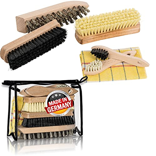 Schuhputzset 6-teilig mit Holzbürsten aus Naturborsten in praktischer Tasche, Schuhpflegeset mit Schuhbürste für Schuhe, Schmutzbürste und Schuhputzbürste zur Schuhpflege