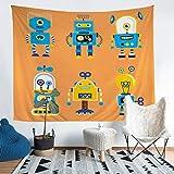 Loussiesd Tapiz de dibujos animados para niños, diseño de robot, para niños, adolescentes, arte pop, para colgar en la pared, elegante, azul, naranja, decoración de dormitorio, tamaño grande, 58 x 79