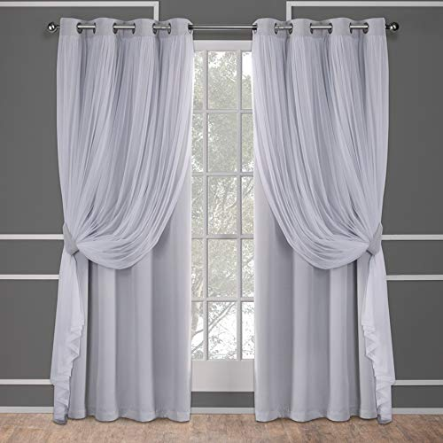 Exclusive Home Curtains Catarina Layered Solid Blackout and Sheer Window Curtain Panel Pair with Grommet Top, 52x96, Cloud Grey, 2 Count