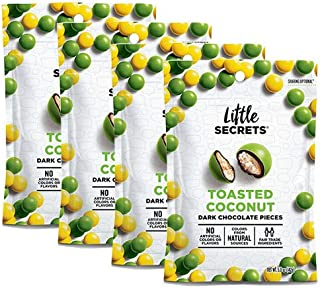 Little Secrets All Natural Fair Trade Gourmet Chocolate Candy - Dark Chocolate Toasted Coconut (5 oz, 4 Count) - The World's Most Unbelievably Delicious Chocolate Candies