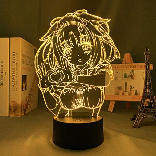 Lámpara de noche 3D de anime, ilusión anime, Nekopara canela, luz nocturna LED para decoración de dormitorio, regalo de cumpleaños, luz nocturna Mange Waifu mesa 3D lámpara Nekopara MAOJIE