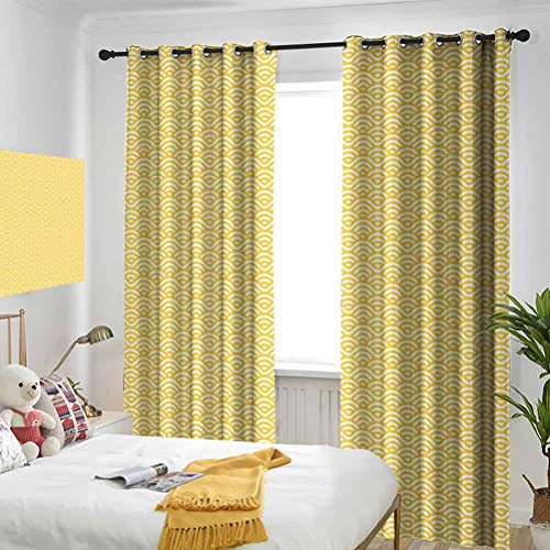 Yellow Sea Ocean Inspired Abstract Vintage Style Waves Linear Ornament Style Marigold White Bedroom Blackout Curtains Three-Layer Braided Noise Reduction Ring top Shade Curtain W72 x L84 Inch