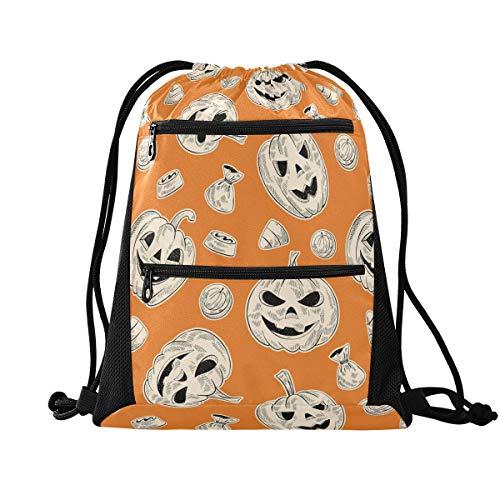 YYYJIA Halloween calabaza Phiz negro cordón bolsa de PE Juegos de Gimnasio Mochila escolar para Senderismo Yoga Gimnasio Natación Viaje Playa