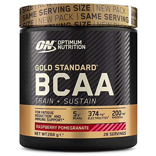 Optimum Nutrition ON Gold Standard BCAA Polvo, Suplementos Deportivos con Aminoacidos, Vitamina C, Zinc, Magnesio y Electrolitos, Frambuesa y Granada, 28 Porciones, 266g, Embalaje Puede Variar