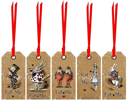 Alice in Wonderland Eat Me, Drink Me party tags set of 20 laminated party decoration