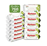 HUGGIES Natural Care Unscented Baby Wipes, Sensitive, Water-Based, 12 Total Flip...