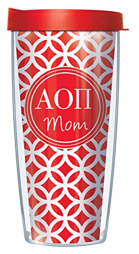 Signature Tumblers Alpha Omicron Pi Mom Insignia Wrap on Red and White Roundabout 22 Ounce Double-Walled Travel Tumbler Mug with Cherry Red Easy Sip Lid