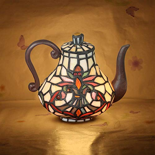 Decoratief glas Nachtkastje Lamp Slaapkamer Nachtlampjes Night Light Fun creatief cadeau Tiffany Theepot Decoration Ornamenten tafellamp