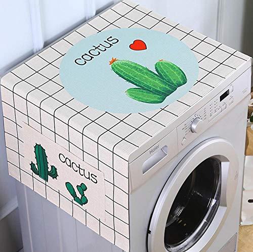 Cubierta para el polvo para nevera, cactusLavadora, cubierta superior de algodón y lino multiusos con bolsillos laterales de almacenamiento, se adapta a la mayoría de lavadoras neveras 65 x 170 cm