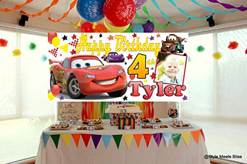 PERSONALISED Disney Cars Birthday Party Banner Large 4ftx2ft Photo Party Decorations Any Name Age first 1st 2nd 3rd 4th 5th 6th 7th 8th 9th Boys (no photo)