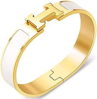 Bangle Bracelets for Women Fashion Classic Coloured Buckle Bangle Bracelet-6.7inch Wide 12MM(Gold+White)