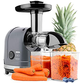 Best Choice Products 150W Horizontal Slow Masticating Juicer Cold Press Extractor High Nutrient Yield Juicing for Fruits & Vegetables w/Safety Lock Reverse Mode Quiet Motor Cleaning Brush