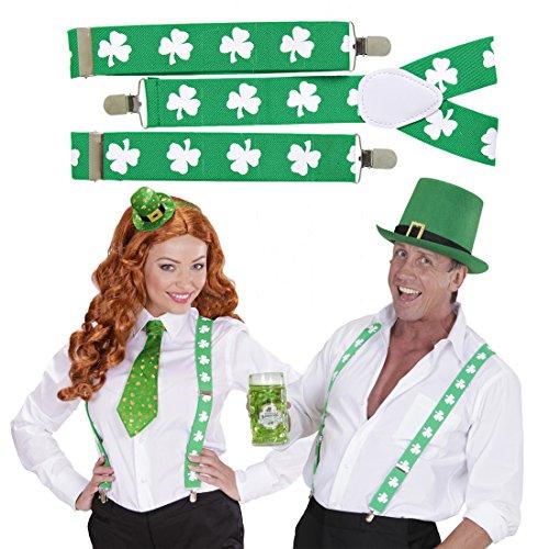 NET TOYS Tirantes da San Patricio Sujeciones trbol Verde y Blanco Suspensiones Duende Sujeciones trasgo Tiras Forma Y Da St. Patrick Accesorio Disfraz irlands
