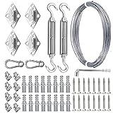 Kit de Cuerda de Acero Inoxidable de 50pcs 15m 5 mm Kit de Cable de Alambre de Acero Inoxidable Cuadrado Tornillos de Tornillo de Hebilla Cuadrada (Color : Silver)