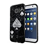 Maceste Ace of Spades Black Marble Compatible with Samsung Galaxy S7 Edge Silicone Inner & Outer Hard PC Shell 2 Piece Hybrid Armor Case Cover