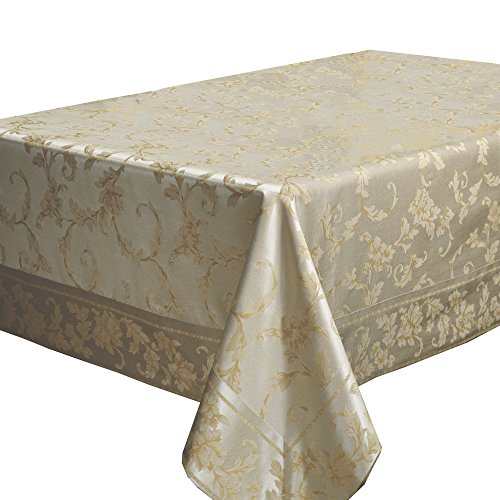 Harmony Scroll Tablecloth (Silver - Gold, 60' X 120' Rectangular)