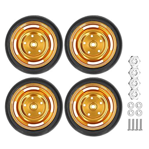Neumático RC, 4pcs / Kit 63mm Caucho RC Neumático de Coche Cubo de Rueda de Metal con Juntas de Adaptador Kit de Tornillos para camión de Control Remoto WPL D12