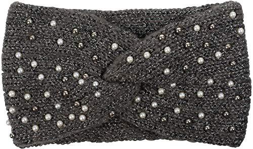 styleBREAKER Damen Strick Stirnband mit Perlen, Metallic Garn und Twist Knoten, warmes Winter Haarband, Headband 04026029, Farbe:Grau-Schwarz