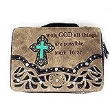 Bible Cover Cut Out Embroidered Scripture Verse Rhinestone Agate Cross Book Case Multi-Color (Beige)