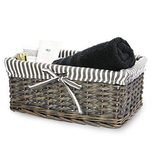 Cesta de mimbre gris | Forro a rayas incluido | Baño, hogar y lavandería | Organizador de madera | Cesto decorativo y canastilla | M&W (medio)