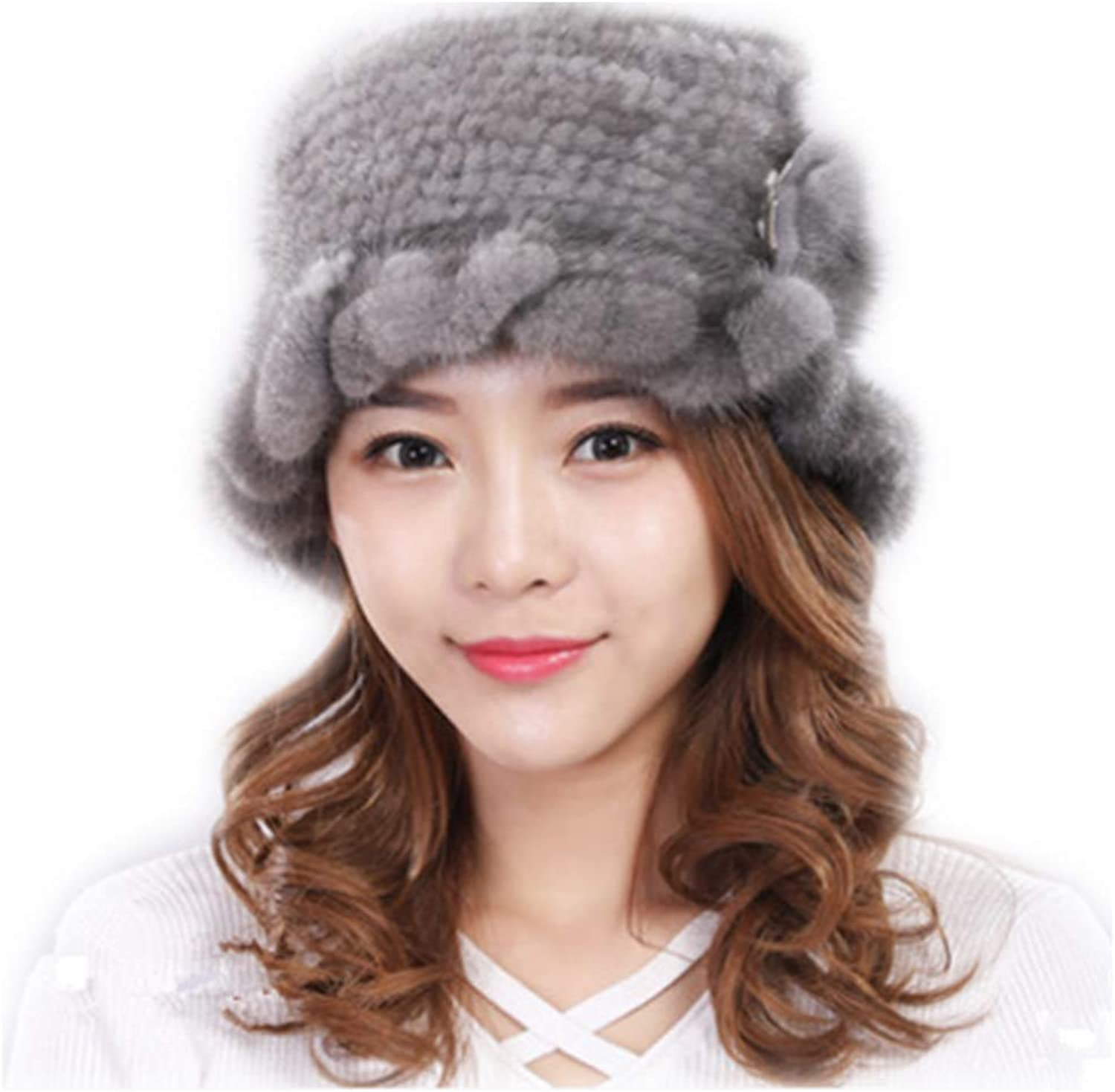 MH Bailment Knitted Mink Fur Beanie Hat with Fur Flower
