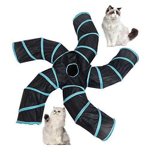 Dlicsy 5-Wege-Katzentunnelspielzeug, Katzenspieltunnel für drinnen und draußen, zusammenklappbar, mit Aufbewahrungstasche für Hunde, Welpen, Kätzchen, Kaninchen (5-Wege-S)