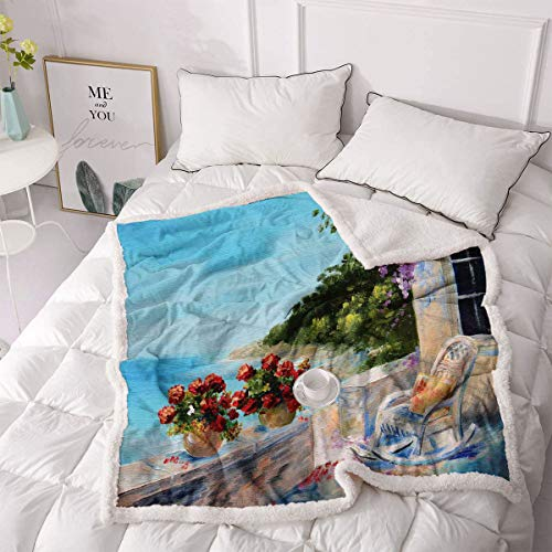 Seascape Artificial Fur Blanket Sea View Balcony with Cosy Rocking Chair Flowers in Summer Sky Oil Painting Style Velvet Plush Blanket - Double 50'x60' Multicolor