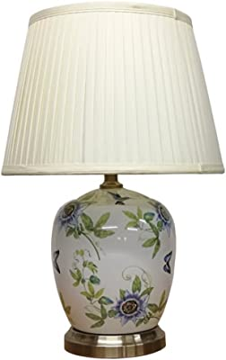 DOWNTON INTERIORS Large White Oriental Ceramic Table Lamp (M11753) – Chinese Mandarin Style Living Rooms & Bedrooms
