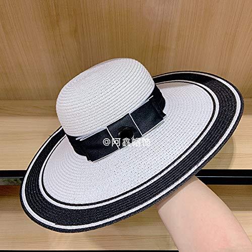 sdssup Frühling und Sommer GG schwarzen Knoten großen Hut Schwarz-Weiß-Visier Strand Monochrom in den Code