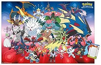 Trends International Pokémon - Mega Evolutions Wall Poster 22.375  x 34  Poster & Mount Bundle