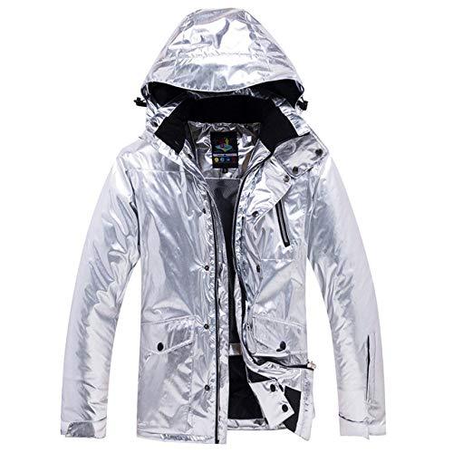 JSGJHXFShining Silver Skipak voor dames en heren, winter thermisch waterdicht, winddicht, snowboardjas, broek, skikleding, dames, sneeuwpakken