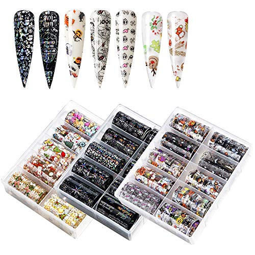 Nail Foil Transfer Stickers - 30 Rolls Holiday Nail Art Foils Adhesive Nail Foil Decals for Cool Halloween Christmas Party DIY Nail Decoration