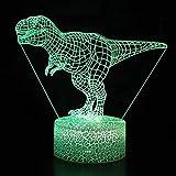 orangeww niedlichen Dinosaurier Thema 3d Illusion Nachttischlampe/kreative Gegenwart Dekoration/Geschenke für Freundin-Dinosaurier-4 / Touch 7 Farbe (Crack weiß)