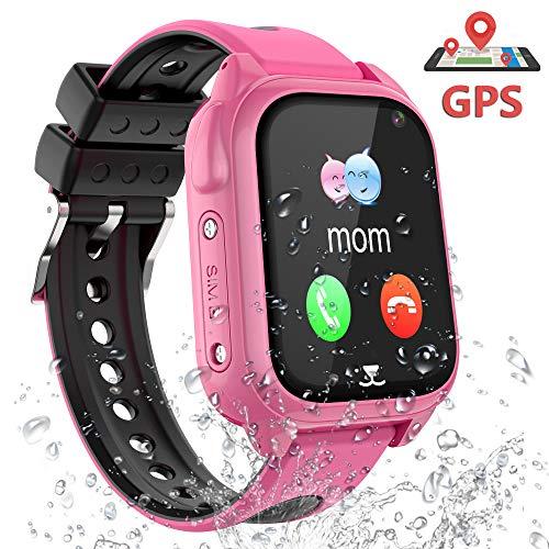 GPS Smartwatch Kinder Armband Wasserdicht - GPS Uhr Kinder Smart Watch Kleine Geschenke für Mädchen Junge, Intelligente Armbanduhr Kinder Telefon Anruf Walkie Talkie Sprachnachricht SOS Schrittzähler