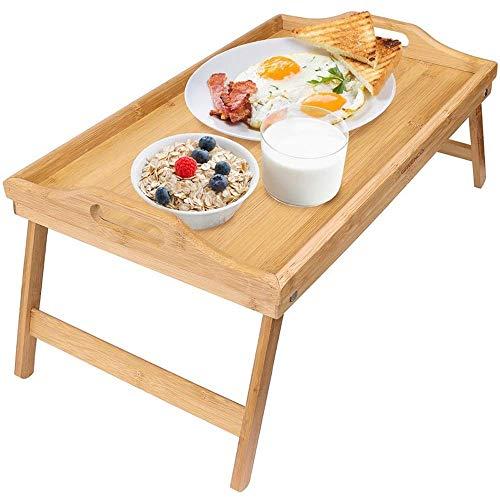 YO-TOKU Laptop Bed Tray Bed Table, Bamboe opvouwbare ontbijttafel, Laptop Bureau, nachtkastje, Dienblad (Kleur: Zwart, Maat: 50 * 30 * 20cm) Vouwtafels