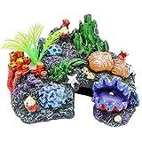 SHAOXI Tóxico for los Reptiles Marina Pescados de la decoración de la Resina del Tanque Acuario en casa Hábitat Ornamento Coral Artificial Paisaje Musgo de Piedra for no