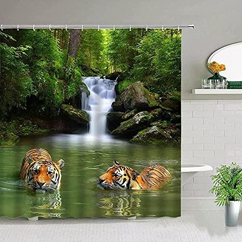 Bunte Duschvorhang Badezimmer Dekor Tiger Duschvorhang Leopard Animal Print Badezimmer Polyester Stoff Für Gardinen Badezimmer Display Wohnkultur -180X180cm