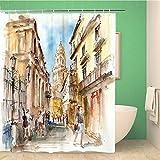 mqlone Shower Curtain Cortina De Ducha Impermeable A Cortina De Baño Tela De Poliéster Art Deco Lavable A Máquina Acuarela De La Catedral De Málaga con 12 Ganchos De150X180 Cm (59X71 Pulgadas)