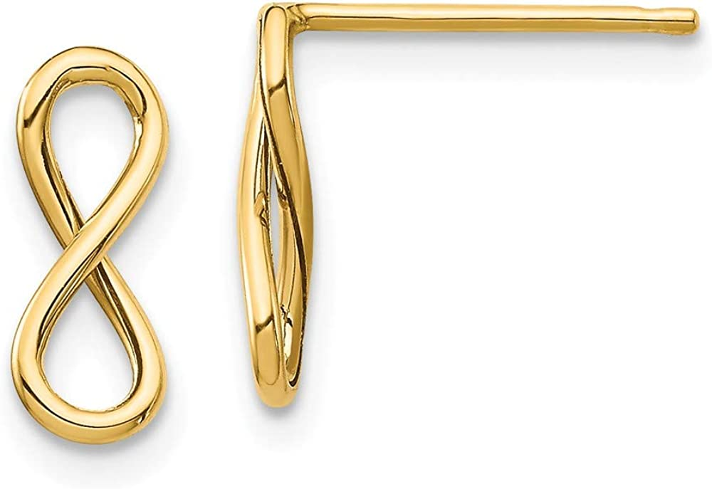 14k Yellow Gold Infinity Post Stud Earrings Ball Button Fine Jewelry For Women Gifts For Her