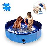 MARUNDA Foldable Dog Pool,Pet Swimming Pool for Dog Pools for Large Dogs, 47 x 12 inch for Slip-Resistant Material Kids Pool.