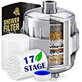 17 Stage Shower Filter Hard Water Softener  High Output Universal Replacement Cartridges with Vitamin C Shower Filter - Removes Chlorine Fluoride Heavy Metals and Other Sediments (17stage)