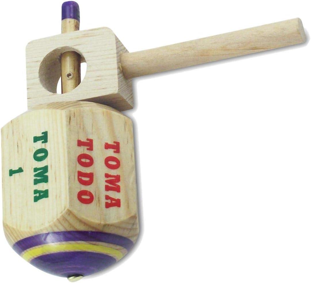 MoreFiesta Jumbo Long-awaited Pirinola Toma Todo Game Wood Hand Set - 100% quality warranty Painted