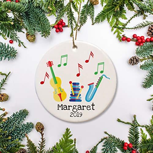 DKISEE Gepersonaliseerde Kerst Keramiek Ornament Voor Kind, Muziekinstrumenten, Eerste, Muzikale Viool En Saxofoon, Keepsake Gift 2019 3.1 inch